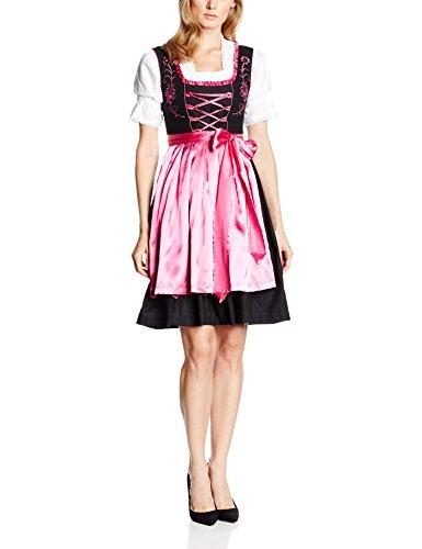 Gaudi-Leathers Damen Dirndl mit satinierter Schürze und passender Bluse, 3-teiliges Set, Schwarz (Pink Schwarz 050), 38 thumbnail