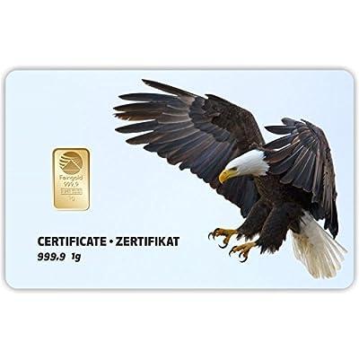 Goldbarren Geschenkkarte 0,5 g 0,5g Gramm Feingold 999.9 Nadir Gold Tier Adler