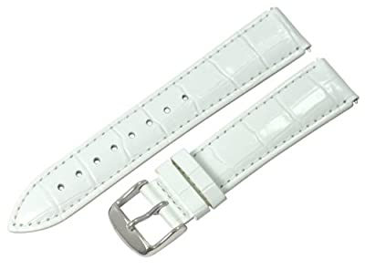 Clockwork Synergy® - 20mm x 18mm - White Croco Grain Leather Watch Band fits Philip stein Large