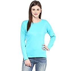 Hypernation Turquoise Color Round Neck Cotton T-shirt For Women