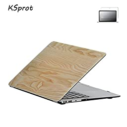 2 in 1 MacBook Pro Retina 13 Case, KSprot Wooden Pattern Rubber Coated Hard Shell Cover for 13 inch Notebook Sleeve model A1502/A1425 (M8)