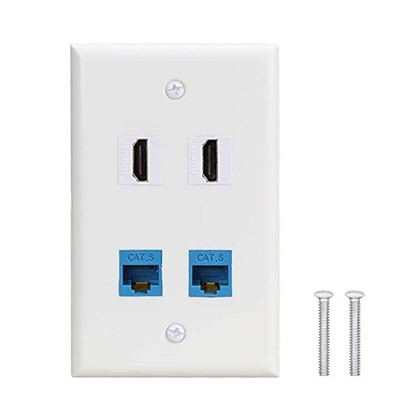 4 Port Wall Plate with 2 Port Cat6 Ethernet Female to Female Jack + 2 Port HDMI Keystone Female to Female Wall Plate . (Color: hdmi-2cat6-1, Tamaño: hdmi-2cat6-1)