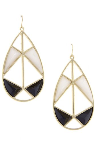 Diva & Duchess Cut Out Drop Earrings (Black/White) front-204787