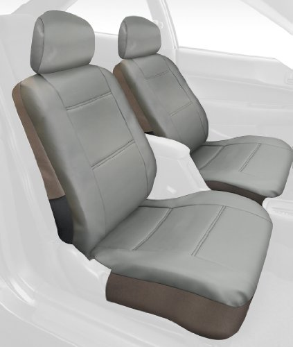 Saddleman Front Bucket Custom Made Seat Covers - Leatherette Fabric (Grey)
