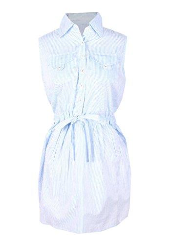 G2 Chic Women's Collared Button Down Sleeveless Summer Dress(DRS-EVP,LBL-M)