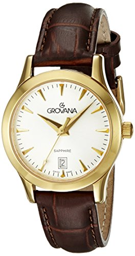 Grovana 3201,1512 - Reloj analógico de cuarzo para mujer, correa de cuero color negro (agujas luminiscentes)
