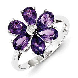 Genuine IceCarats Designer Jewelry Gift Sterling Silver Rhodium Amethyst & Diamond Flower Ring Size 8.00