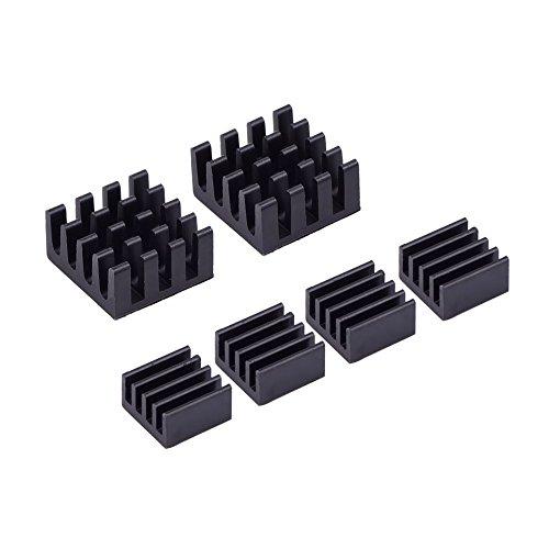 Mudder 6 Piece Black Aluminum Heatsink Cooler Cooling Kit for Raspberry Pi 3,Pi 2,Pi Model B+