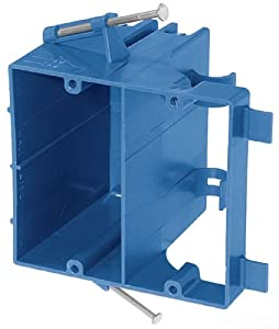 Carlon SN-21-DV Dual Voltage Outlet Box, New Work, 1 Gang, 3-5/8-Inch Length by 4-Inch Width by 3-7/16-Inch Depth, Blue