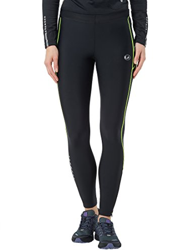 Ultrasport Women's Compression Effect and Quick-Dry-Function Long Running Pants - Black/Neon Yellow, Large