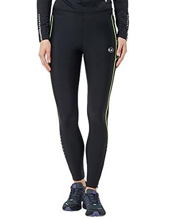 Ultrasport 380100000329 - Pantalones largos de correr para mujer, color negro / amarillo neón, talla XS