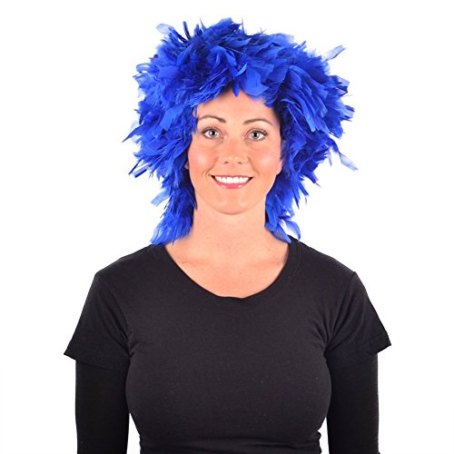 My Costume Wigs Women's Mardi Gras Feather Wig(Bright Blue) One Size Fits All