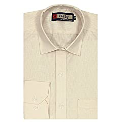 HELG Solid Comfort Fit Full sleeves Light Brown Cotton Formal SHIRT For Men