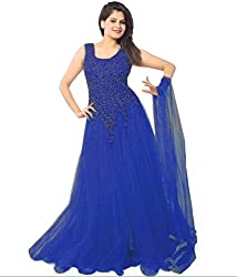 Pashimo Net Fabric Gown For Women ( Gowns with Dupatta _ Gown for Girls _ Gown for Women Party Wear ) (Blue)