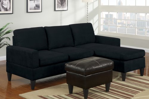 Black microfiber small sectional sofa with reversible for Black sectional sofa with chaise