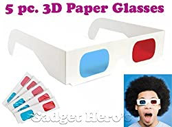 Gadget Hero's 3D Paper AnaGlyph Glasses Red/Blue. 5 Pcs.