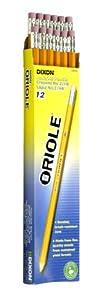 Dixon Ticonderoga Oriole Pre-Sharpened Black Core Pencils, #2, Yellow,  Box of 12 (12886)
