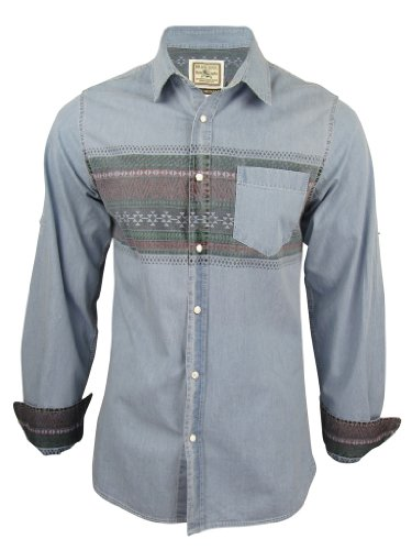 Mens Brave Soul 'Santos' Aztec Nordic Denim Casual Shirt Cotton - Light Wash [Medium]