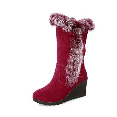 Frauen Keilabsatz runde Kappe Mitte Wade Stiefel (mehr Farben) günstig