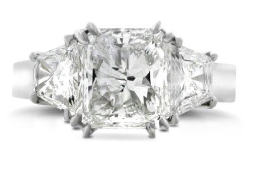2.80 Ct Radiant Cut Three Stone Diamond Engagement