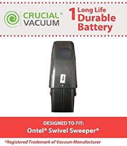 Crucial Vacuum High Capacity Black Vacuum Battery Fits Ontel Swivel Sweeper G1 & G2; Compare to Part # RU-RBG; Designed & Engineered by Crucial Vacuum