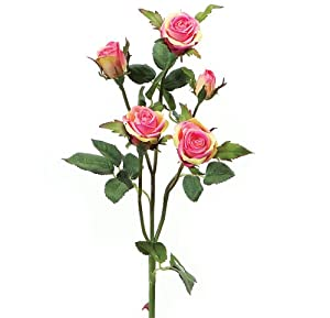 """Pack of 12 Decorative Artificial Pink & Yellow Rio Rose Silk Flower Stems 20"""""""