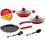 Nirlon Induction Non Stick Cookware Combo Set Offer Dual Color 6 Layer Reinforced Heat Resistant Coating With...