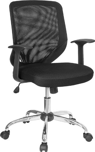 CHEAP Black Mesh Office Chair With Mesh Back And Mesh Fabric Seat LF W95 ME