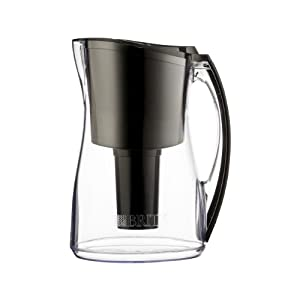 Brita Marina Water Filter Pitcher, Black, 8 Cup