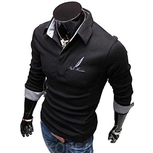 BUZZ[バズ]シャツ メンズ ポロシャツ カジュアル 長袖 カジュアルシャツ ブラック L