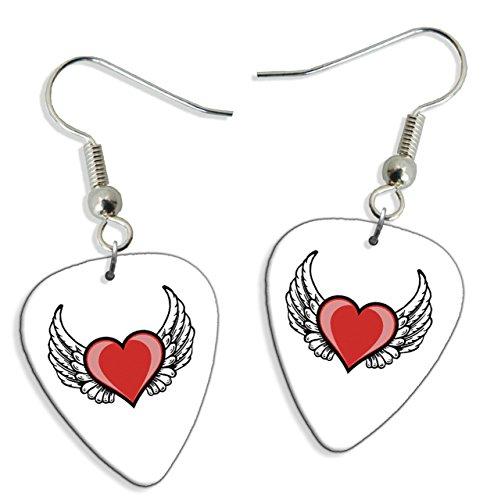 Angel Wings Love Heart 2 X Logo Chitarra Pick Earrings orecchini (GD)