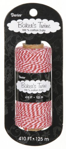 Darice BT107 2-Ply Bakers Cotton Twine, 410-Feet, Red/White