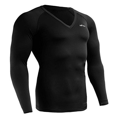 Emfraa Men Women Compression V-Neck Under Base Layer T Shirt Long Sleeve Black E-227 Large