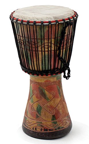 "16""-18"" Authentic Medium Size Handmade Djembe Drum - Traditional African Musical Instrument"