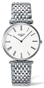 Longines La Grande Ultra Thin Men's Quartz Watch with White Dial Analogue Display and Silver Stainless Steel Bracelet L48004116