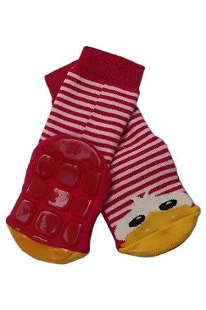 Weri Spezials Kinder Voll-ABS Socke Enten Motiv in Rot-Rosa Gr.27-30 (5-6 Jahre))