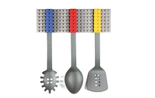 Kitchen Utensil Set And Wall Mount - Building Blocks Themed Spoon, Pasta Drainer & Spatula