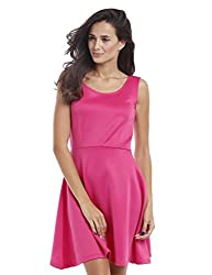 Prym Women's Solid Scuba Skater Dress (1011509602_Pink_Medium)