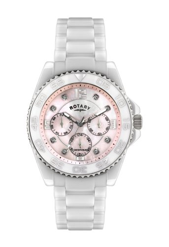 Rotary Women's Quartz Watch with Mother of Pearl Dial Analogue Display and White Ceramic Bracelet CEWBS/07/M