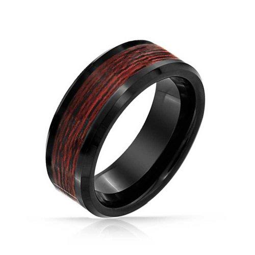Bling Jewelry Black Tungsten intarsio di legno Mens anello con incisione gratuita