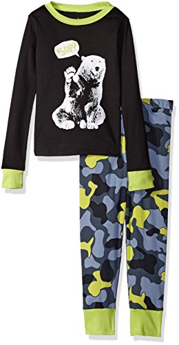 The Children's Place Boys' Big Boys' 2-Piece Cotton Pajama Set, Bear/Black, 12 (Black Bear Pajamas compare prices)