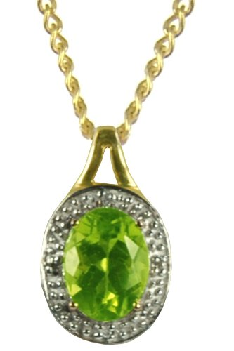 9ct Yellow Gold Diamond Set Oval Peridot Pendant on 46cm Curb Chain