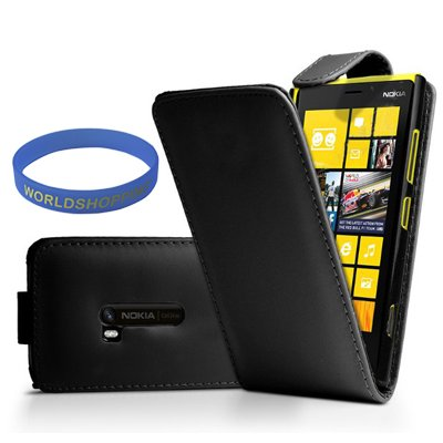 Worldshopping Black Magnetic Flip Leather Case Pouch Cover For Nokia Lumia 920 + Free Accessory