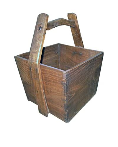 Early 20th Century Elm Wood Bucket with Handle, Natural