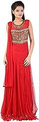 Mansi Women's Regular Fit Anarkali Gown (MS-89, Red , Large)