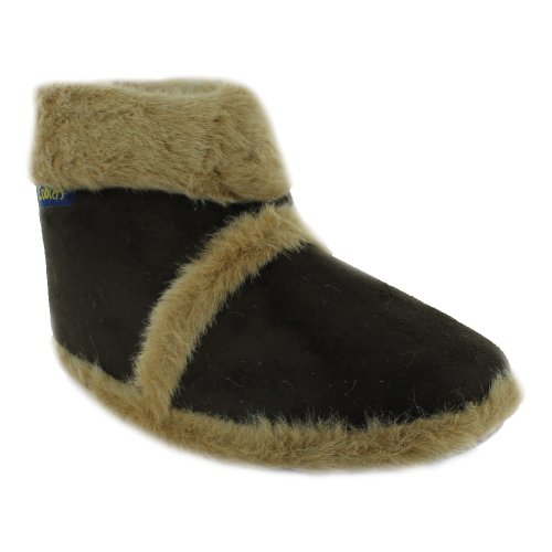 New Mens Cooler Brand Snugg Boot Slipper Microsuede Outer with Thick Fluffy Collar And Lining - Durable Sole Tan UK9-10
