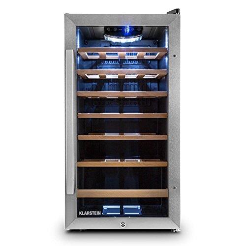 Vivo Vino 26 Wein-kühlschrank freistehend | Weintemperierschrank 26 Flaschen Wein (88 Liter) mit doppelt isolierte Edelstahl-Glastür, Touch-Bedienung, LED-Innenraumbeleuchtung, niedrigem Betriebsgeräusch und regelbare Kühltemperatur in schwarz