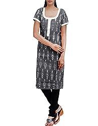 Unnati Silks Women Pracheen kala grey Pochampally cotton kurti