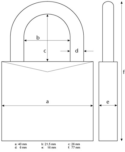 Abus 20128 Messing Zahlenschloss 165/40SB, 40 mm - 4