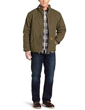 Carhartt Men's Sandstone Duck Muskegon Jacket, Army Green, Small